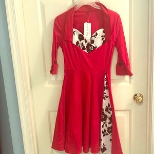 Dresses & Skirts - Red dress with floral black & white accent